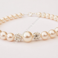 Pearl & Diamante Bracelet - Bridal Jewellery - Bridesmaids Gifts - Wedding Acces