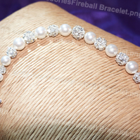 Pearl & Fireball Bracelet - Mother's Day Gift - Bridal Jewellery - Bridesmaids