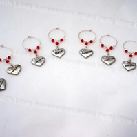 Bridal Party Wine Glass Charms - Wedding Favours - Table Decorations