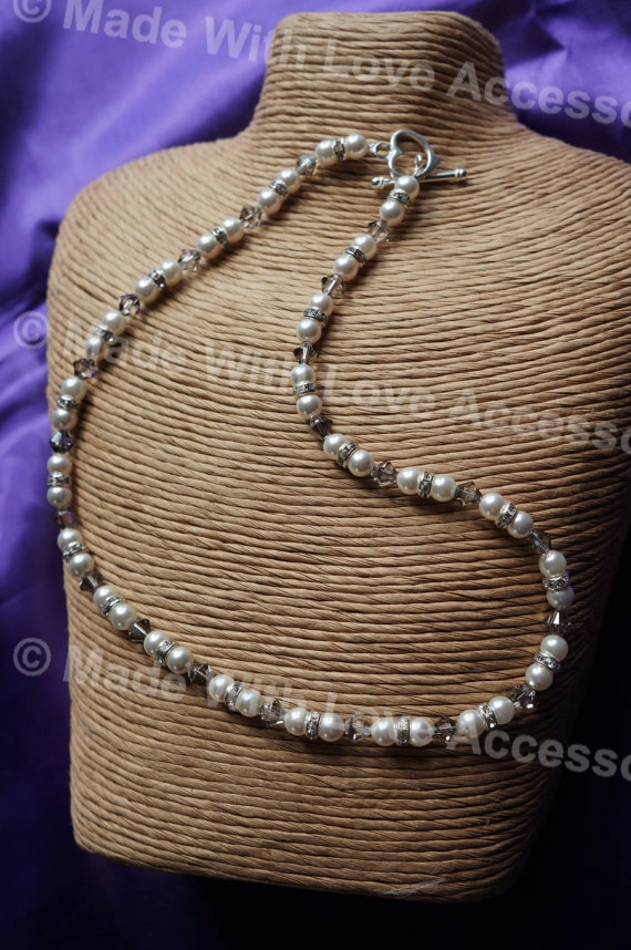 Pearl and Crystal Necklace - Bridal Jewellery - Bridesmaids - Bride's Mother -