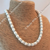 Pearl and Diamonte Necklace - Bridal Jewellery - Wedding Accessories
