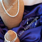 Pearl & Diamonte Jewellery Set - Pearl Necklace - Bridal Jewellery - Pearl Brace