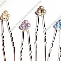 Pearl Flower Hair Pins - Flower Bobby Pins - Hair Accessories - Wedding Accessor