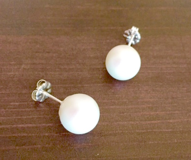 Pearlescent White Pearl Stud Earrings - Swarovski Pearl Earrings - Silver Earrin