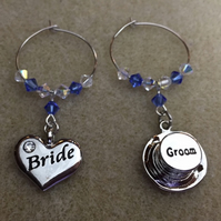 Bride & Groom Wine Glass Charms