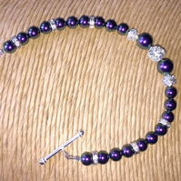 Iridescent Purple  Pearl & Diamante Bracelet - Bridal Jewellery - Bridesmaids