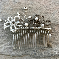 Pearl and Smokey Quartz Flower Hair Comb - Bridal Accessories -