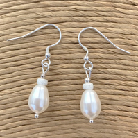 Freshwater Pearl Drop Earrings, Bridal Jewellery, Wedding Accessories