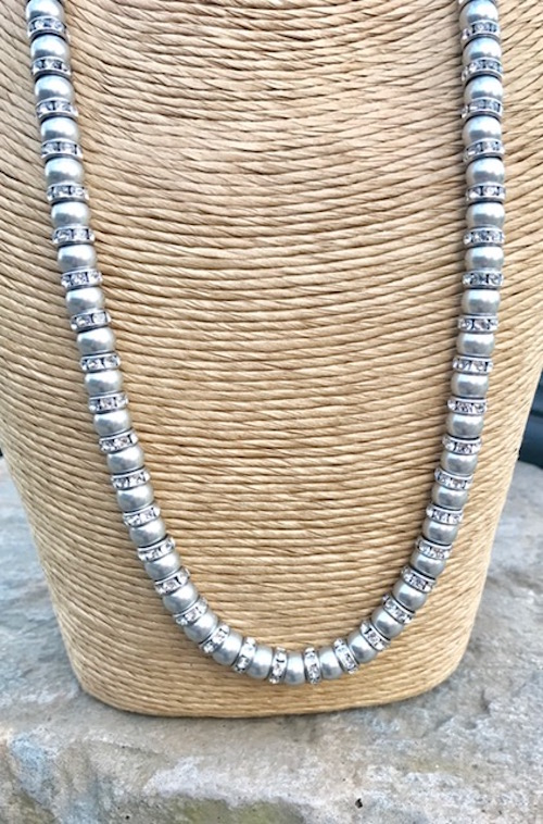 Silver Pearl Necklace, Light Grey Pearls,  Bridal Jewellery, Wedding Accessories