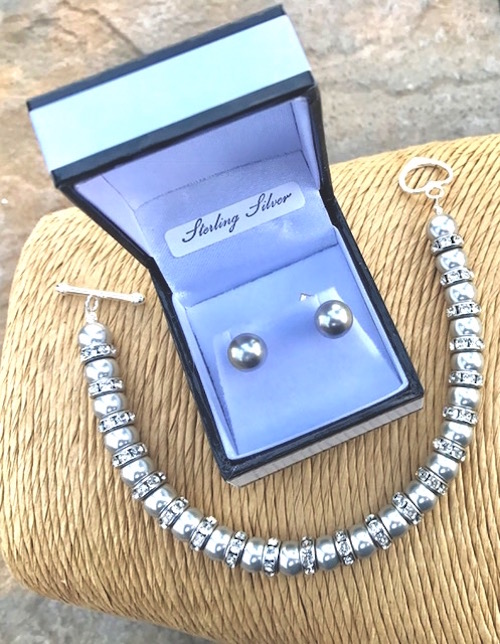Light Grey Swarovski Pearl Bracelet & Earrings - Wedding Accessories