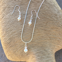 Pearl and Crystal Necklace and Earring Set - Bridal Jewellery - Silver Jewellery