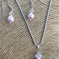 Pink Pearl and Crystal Necklace and Earring Set - Bridal Jewellery