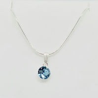Aquamarine Swarovski Crystal Necklace – Sterling Silver – Wedding Accessories