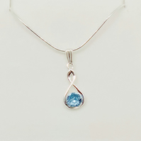 Aquamarine Swarovski Crystal Infinity Necklace – Sterling Silver – Wedding