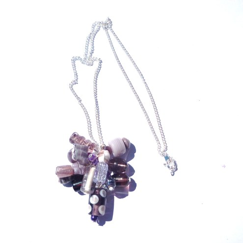 Purple cluster necklace