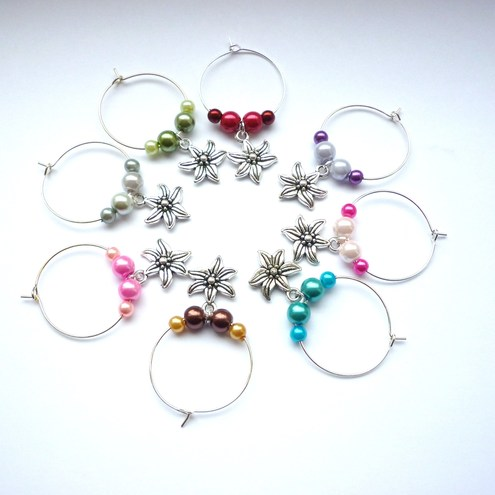 Flower themed wine glass charms - reserved for Annaboth