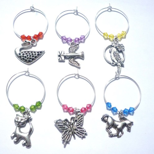 Animal themed wine glass charms
