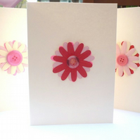 **SALE** Pink flower / button themed Note cards - was £4 now £3