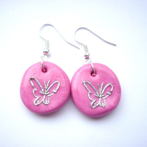 Pink polymer clay butterfly earrings