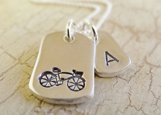 Bike dog tag necklace with initial