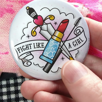Fight like a girl - Traditional tattoo Pocket Mirror