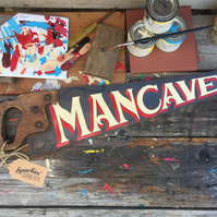 'MANCAVE' hand-painted vintage saw
