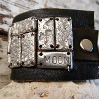 Rustic leather cuff with pewter detail