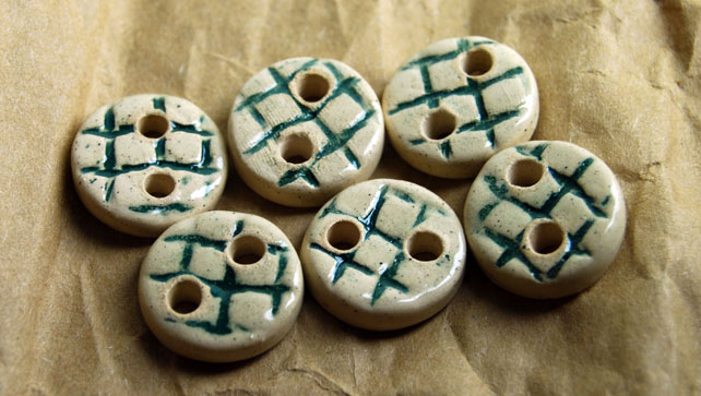 6 Rustic Round Ceramic Buttons with Embossed Weave Design - 16mm
