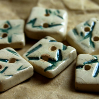 6 Rustic Square Ceramic Buttons with Embossed Bamboo Leaf Design - 13mm
