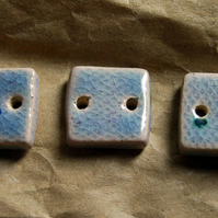 3 Rustic Lilac Square Ceramic Buttons - 14mm