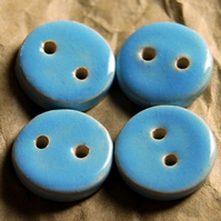 4 Rustic Sky Blue Round Ceramic Buttons - 15mm
