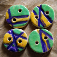 4 Colourful Round Ceramic Buttons with Embossed Line Design - 16mm