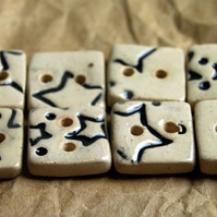 8 Rustic Square Ceramic Buttons with Embossed Star Design - 13mm