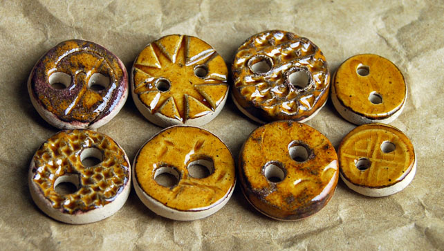 8 Rustic Round Ceramic Buttons with Embossed Designs and Rosewood Glaze