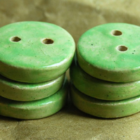 6 Rustic Apple Green Round Ceramic Buttons - 15mm