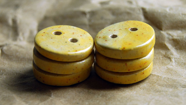 6 Rustic Yellow Round Ceramic Buttons - 15mm