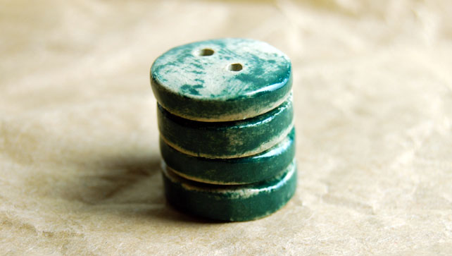 4 Rustic Dark Green Round Ceramic Buttons - 16mm