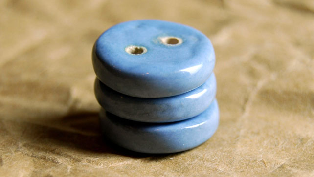 3 Rustic Wedgewood Blue Round Ceramic Buttons - 16mm