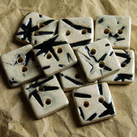 10 Rustic Square Ceramic Buttons with Embossed Bamboo Leaf Design - 13mm