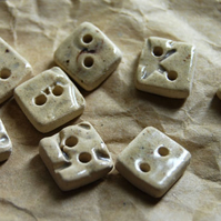 8 Rustic Stone Effect Square Ceramic Buttons - 10mm