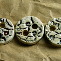 3 Rustic Round Ceramic Buttons with Embossed Bark Design - 25mm
