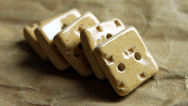 5 Rustic Square Ceramic Buttons with Embossed Diamond Design - 14mm