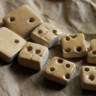 8 Rustic Square Ceramic Buttons with Embossed Designs