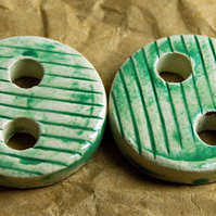 2 Rustic Round Ceramic Buttons with Embossed Line Design - 25mm