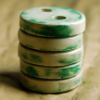 5 Rustic Round Faded Green Ceramic Buttons - 24mm