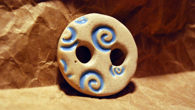 Large Rustic Round Ceramic Button with Embossed Spiral Design - 30mm