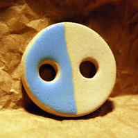 Large Rustic Round Ceramic Button with Sky Blue Glaze - 31mm