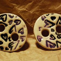 2 Large Rustic Round Ceramic Buttons with Embossed Heart Design - 33mm