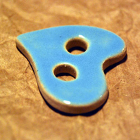 Large Rustic Heart-Shaped Ceramic Button with Sky Blue Glaze - 37mm