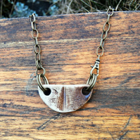 Rustic Industrial Ceramic Pendant with Brown Glaze on Bronze Chain